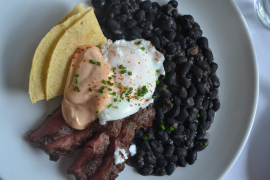 brunch huevos rancheros at lineage brookline, ma