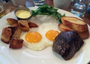 Wagyu steak and eggs at puritan and company